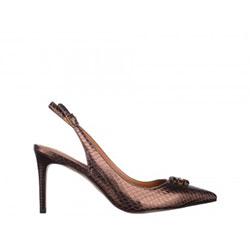 Pantofi Epica bronz din piele naturala cu efect sarpe