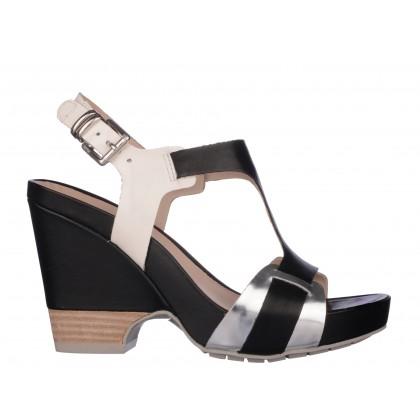 Sandale CLARKS negru argintiu, din piele naturala