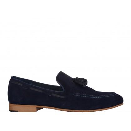 Pantofi COXX bleumarin, din piele intoarsa